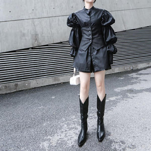 New Long Black Shirt With Long Pleated Puff Sleeves