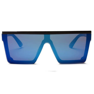 Women's Flat Top Square Oversize Fashion Sunglasses, blue or silver