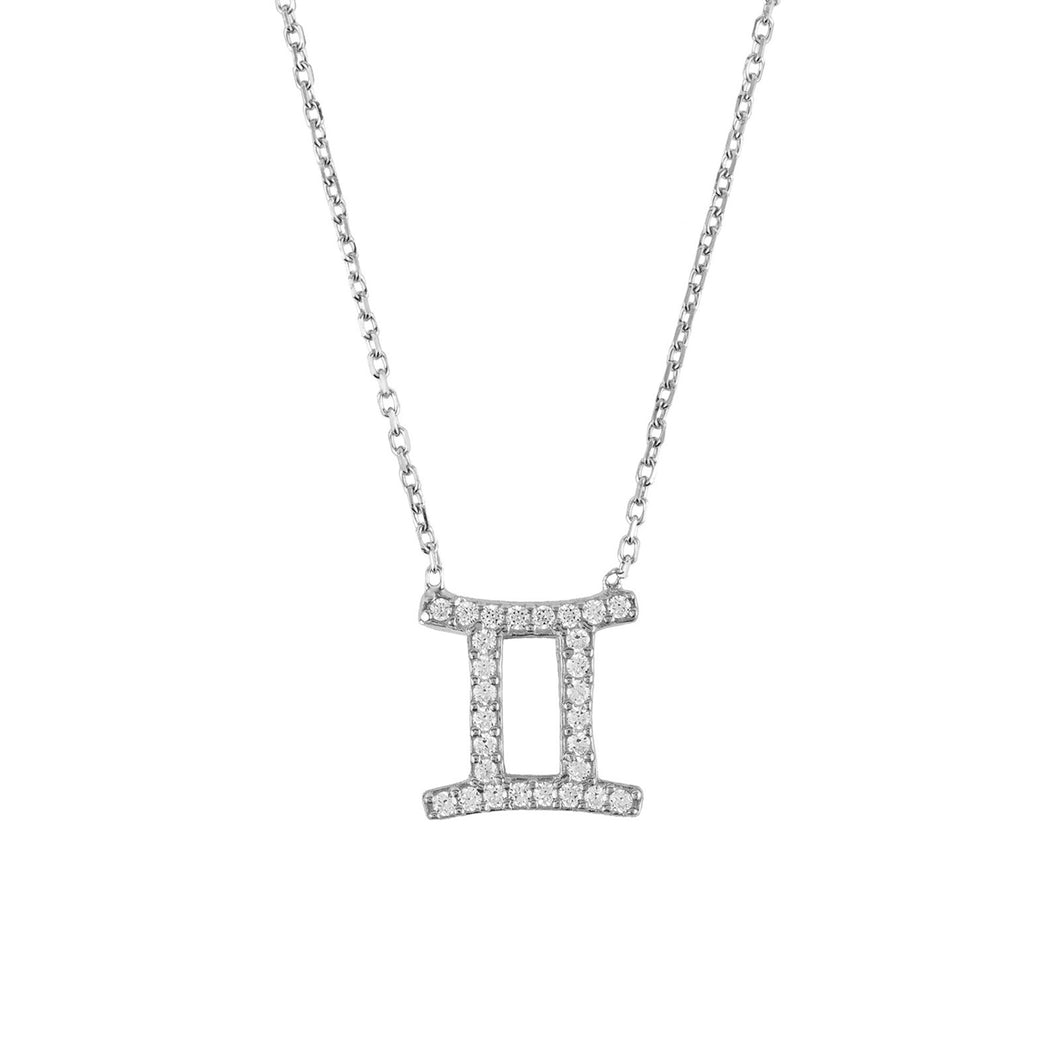 New GEMINI Zodiac Necklace in Sterling Silver and White Zircons - Junkdrawercoolfinds.com