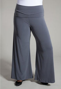 New Plus Size Perfect Palazzo Ultra-Wide Leg Gray Pants 1X-6X - Junkdrawercoolfinds.com