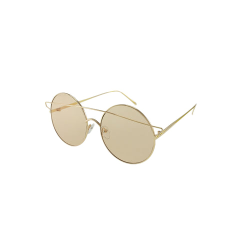 Jase New York Meridian Metal Sunglasses Brow Bar UV400 in Tan