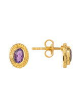 New Amethyst Gemstone & Gold Stud Earring,  February Birthstone