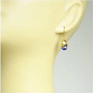 Shell Cluster Blue Sapphire Earrings , September Birthstone