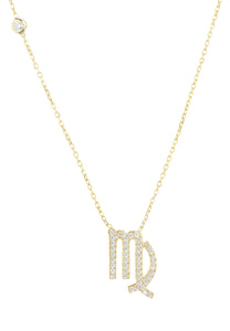 Zodiac Star Sign Pendant Necklace 22ct Gold, Virgo