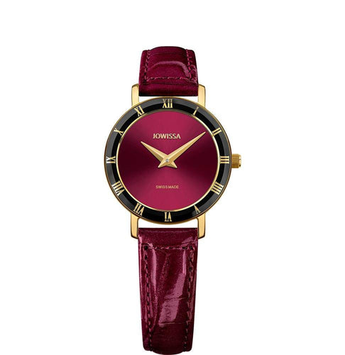 New Jowissa Roma Swiss Ladies Watch Bordeaux Leather, Gold/Bordeaux - Junkdrawercoolfinds.com