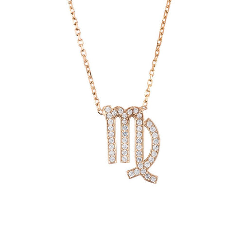 New Virgo Zodiac 22ct Rose Gold and Zircons Necklace - Junkdrawercoolfinds.com