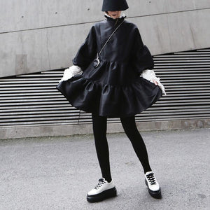 Black Stand Collar Puff Sleeve Ruffle Dress M or L