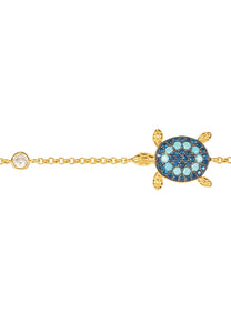 New 22ct Gold Bracelet, Turquoise & Blue CZ Sea Turtle, December Birthstone