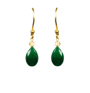"Emerald & 18ct Vermeil Gold 1 1/4"" Drop Earrings, May Birthstone"