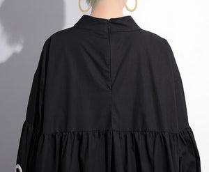 Black Long Sleeve Grommet High Low Dress One Size