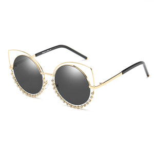 Women's Designer Pearl-Studded Cut-Out Cat Eye Princess Sunglasses, 5 color choices
