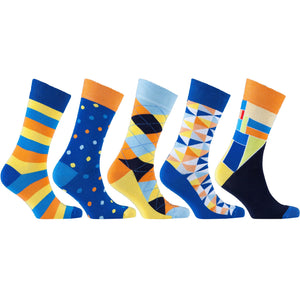 Socks n Socks #3031 Men's 5-Pair Pack of Funky Pattern Socks - Junkdrawercoolfinds.com