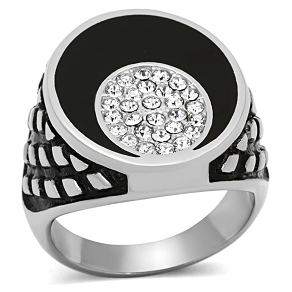 Men's 2-Tone Stainless Steel Ring W/ Circle Of Top Grade Crystals Sz 8-13 - Junkdrawercoolfinds.com