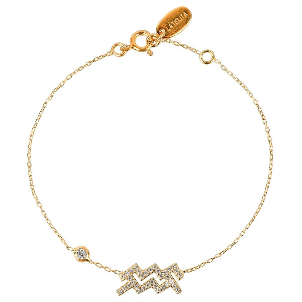New Aquarius Zodiac Bracelet in Choice of 22ct Gold, Rhodium or 22ct Rose Gold - Junkdrawercoolfinds.com