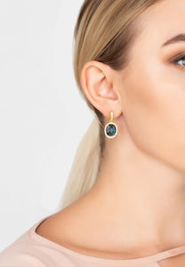 Oval Sapphire Hydro Gemstone & 22ct Gold Drop Earrings, September Birthstone