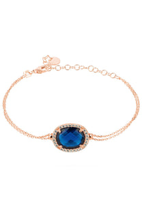 Oval Sapphire Hydro Gemstone & Rose Gold Bracelet, September Birthstone