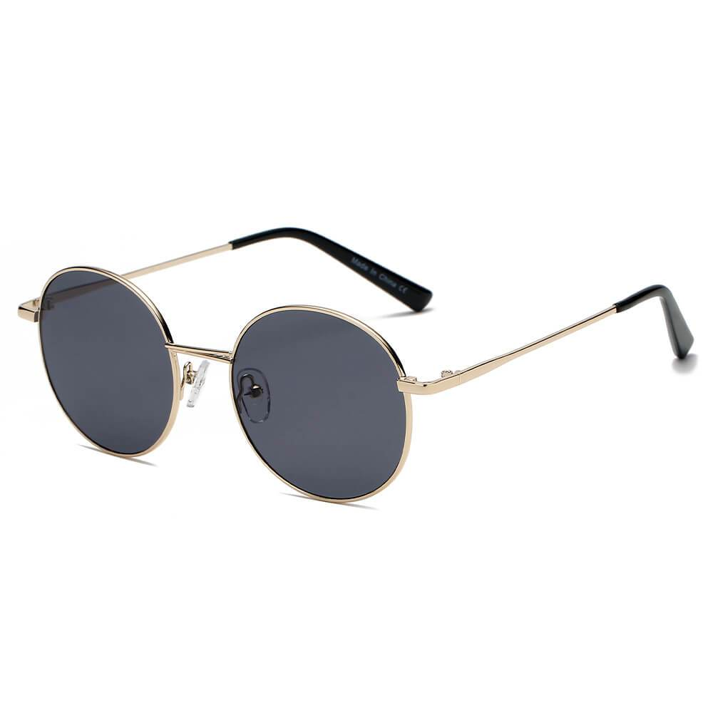 Unisex Retro Vintage Metal Round Oval Circle Sunglasses, 4 color choices