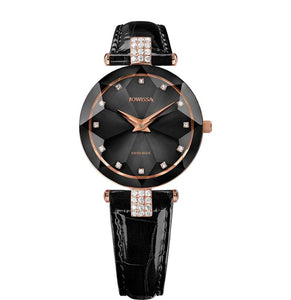 New Jowissa Facet Strass Swiss Ladies Watch Black Face & Band - Junkdrawercoolfinds.com