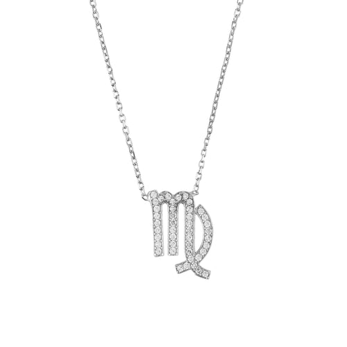 New Zodiac VIRGO Sterling Silver & White Zircons Necklace - Junkdrawercoolfinds.com