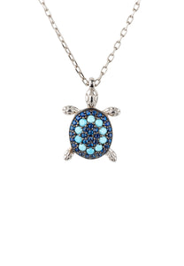 New Turquoise & Blue CZ Sea Turtle Pendant 925 Silver Necklace December Birthstone