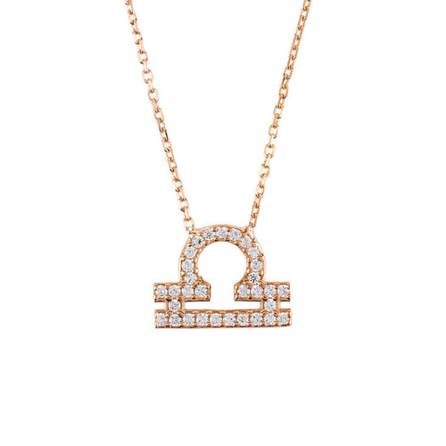 New 22ct Rose Gold and Zircons, Zodiac Necklace LIBRA - Junkdrawercoolfinds.com