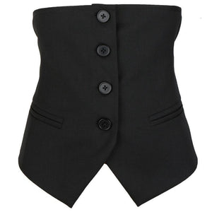 New Black Button Front Waist Vest, Sizes S-M-L