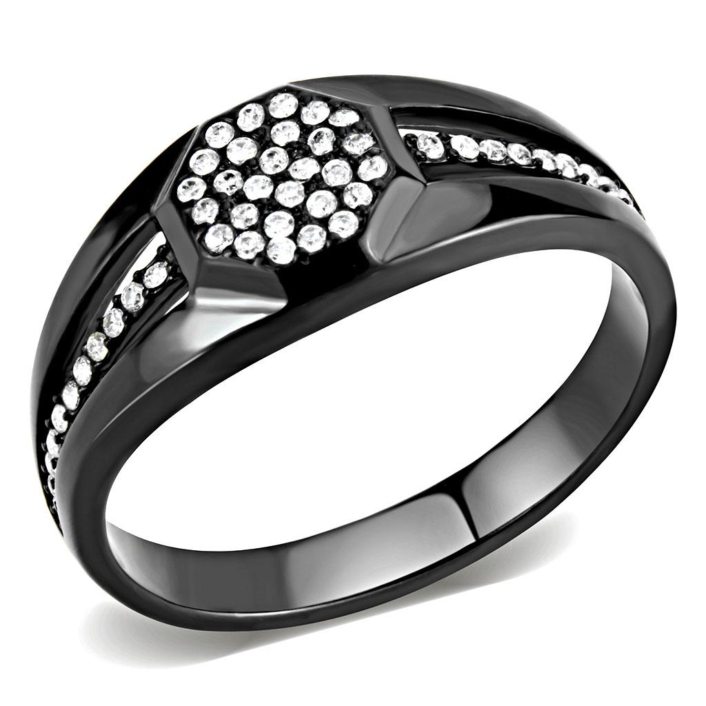 Men's IP Black Stainless Steel Ring & 50 AAA Grade Clear CZ Sz 8-12 - Junkdrawercoolfinds.com