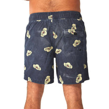 New Men's Navy W/ White Floral Design Swim Trunks, Sizes S-2XL