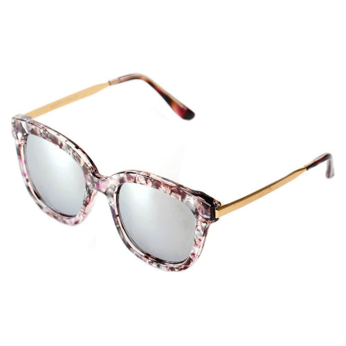 Women's Oversize Mirrored Lens Horned Rim Sunglasses, 5 color choices