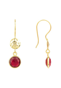 Natural Garnet & Hand Hammer Gold Drop Earring, January Birthstone