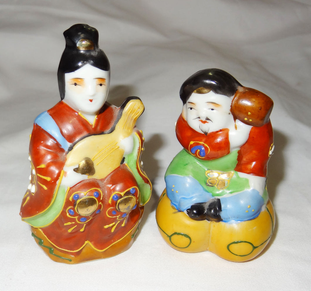 Vintage 2 Small Japanese Porcelain Figurines, Man & Woman, 4