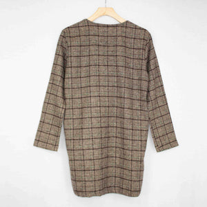 New Women's Oversized Open Front Checkered Jacket - Junkdrawercoolfinds.com