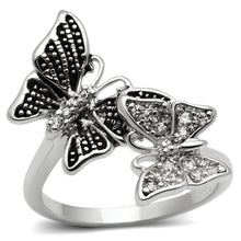Women's Ring Dual Butterflies Rhodium Plating & AAA CZS Size 5-10 - Junkdrawercoolfinds.com