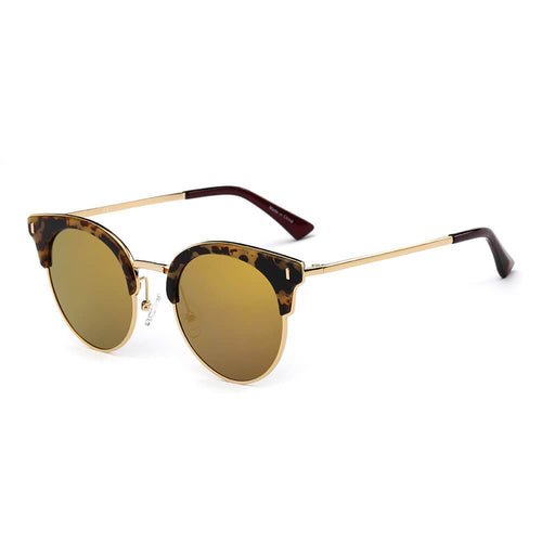Women's Half Frame Round Cat Eye Polarized Sunglasses, 6 color choices