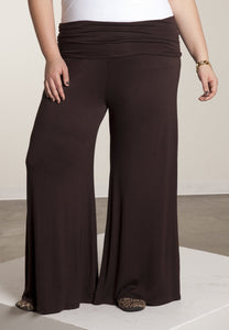 New Plus Size Perfect Palazzo Ultra-Wide Leg Black Pants 1X-6X - Junkdrawercoolfinds.com