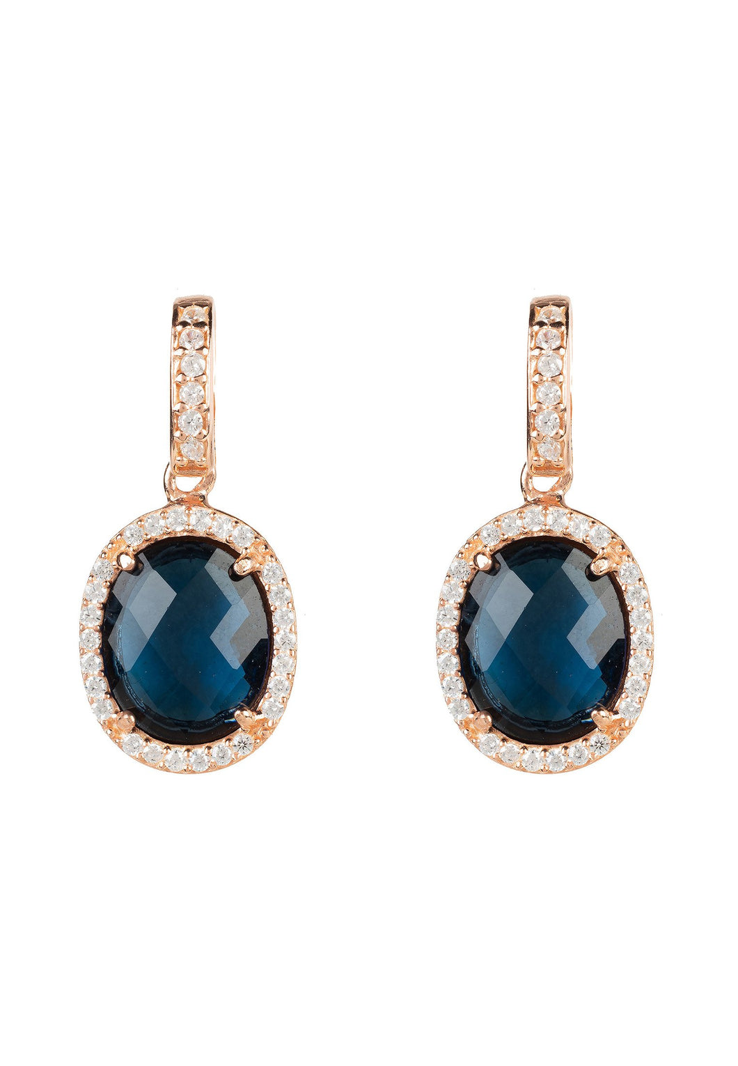 Oval Sapphire Hydro Gemstone & Rose Gold Drop Earring, September Birthstone