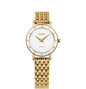 New Jowissa Roma Swiss Ladies Watch Metal Link Band, Gold/White - Junkdrawercoolfinds.com