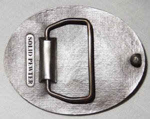Vintage JD STEEL CO. Safety Award Solid Pewter Belt Buckle - Junkdrawercoolfinds.com