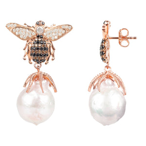 New Baroque Pearl Honey Bee Drop Earring 22ct Rosegold