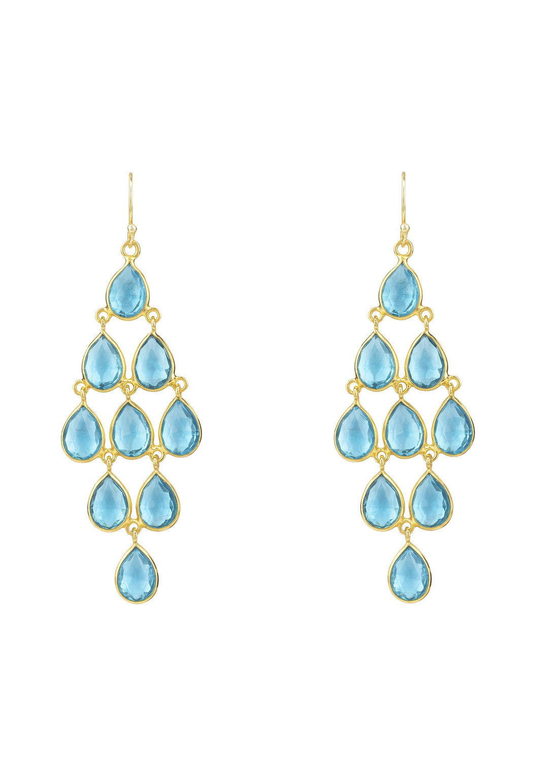 Gold & Blue Topaz Gemstone Cascade Drop Earrings, November Birthstone