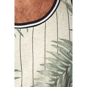 Men's Palm Leaf Print on White Ribbed Tank W/ Contrast Piping, S-XL