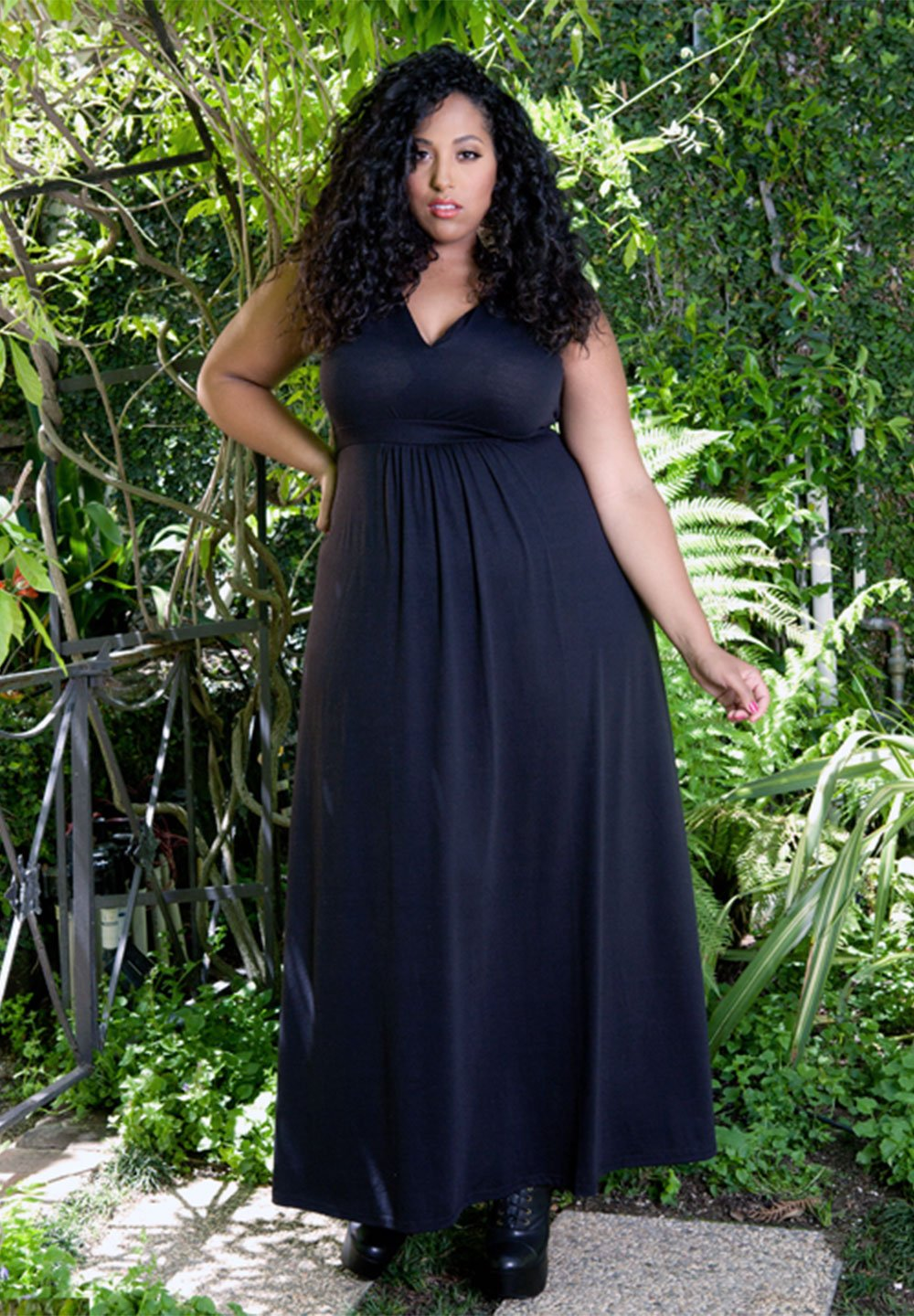 New Plus Size Sleeveless Classic Black Maxi Cocktail Evening Dress 1X-6X - Junkdrawercoolfinds.com