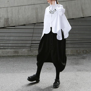 Women's White or Black Lapel Long Sleeve Irregular Hem Shirt in M or L