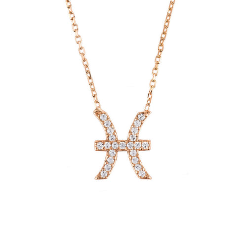 New Pisces Zodiac 22ct Rose Gold & Zircon Necklace - Junkdrawercoolfinds.com