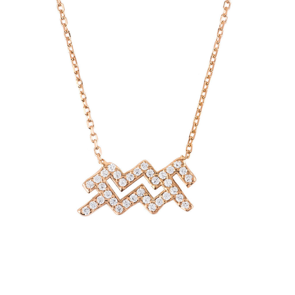 New Aquarius Zodiac Necklace in 22ct Rose Gold & Zircons - Junkdrawercoolfinds.com