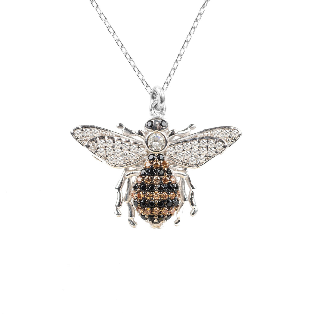 New Honey Bee Pendant Necklace 925 Sterling Silver