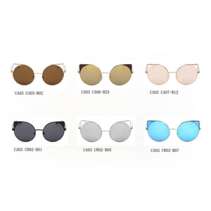 Women's Mirrored Lens Round Cat Eye Sunglasses, Choose from 6 colors