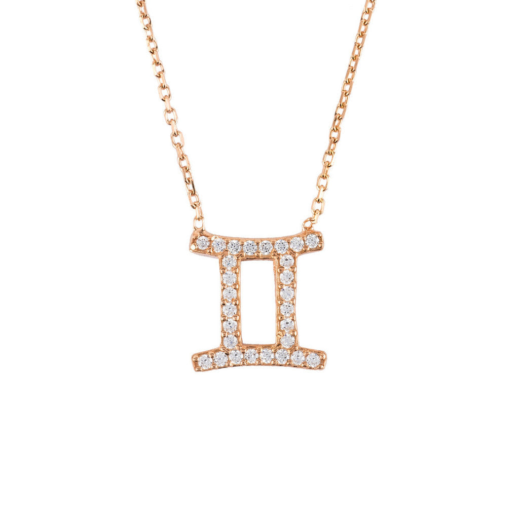 New GEMINI Zodiac Necklace in 22ct Rose Gold and Zircons - Junkdrawercoolfinds.com