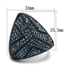 Women's Ring IP Black Stainless Steel & Top Grade Crystal in Montana Sizes 5-10 - Junkdrawercoolfinds.com