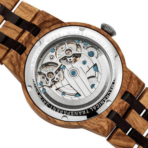 Wilds Wood Men's Dual Wheel Automatic Ambila Wood Watch - Junkdrawercoolfinds.com